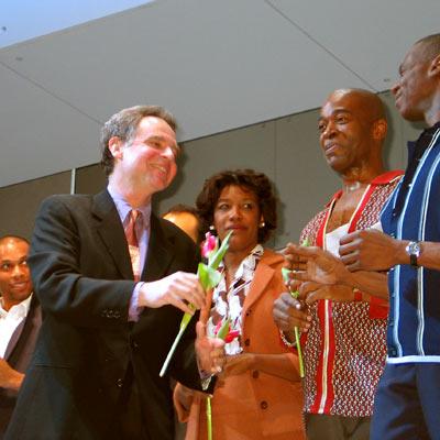 Gino Emnes, John Jiler, Carole Alston-Bukowsky, Joe Garcia und Steven Shiversm, 13.1.2005, Foto: Martin Bruny