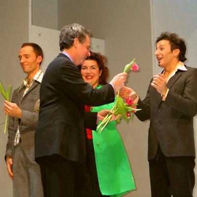 Axel Olzinger, John Jiler, Murielle Stadelmann und Bruno Grassini, 13.1.2005, Foto: Martin Bruny