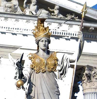 Wien, Parlament, digitally reduced Pallas Athene, November 2004